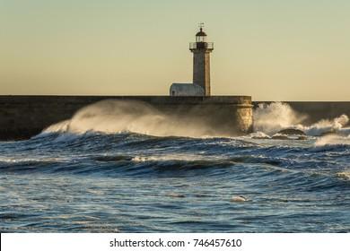 Felgueiras Lighthouse seen from beach in Porto city, Portugal