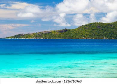 Felicite Island as seen from La Digue Island, Seychelles