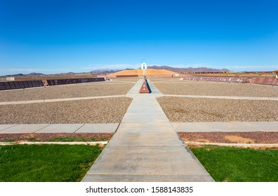 Felicity, CA - November 24, 2019: A view of The Official Center of the World Monument Complex in Felicity, California's Sonora Desert