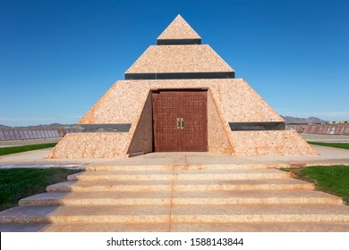 Felicity, CA - November 24, 2019: A view of The Official Center of the World Pyramid Monument in Felicity, California's Sonora Desert