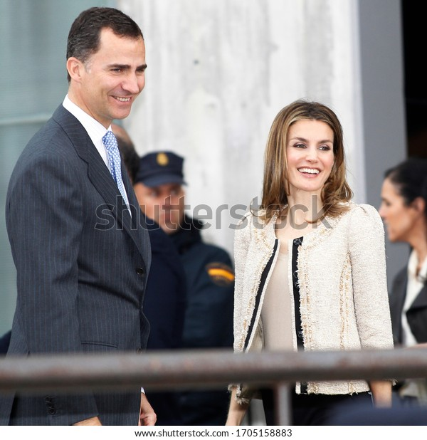 Coruña-Spain.King Felipe IV and Queen Leticia smiling at the exit of an event in La Coruña on May 4, 2012