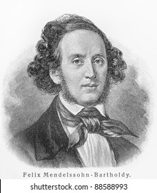 Felix Mendelssohn -  Picture from Meyers Lexicon books written in German language. Collection of 21 volumes published between 1905 and 1909.