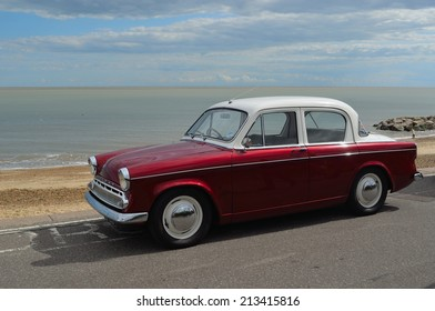 FELIXSTOWE, SUFFOLK, ENGLAND - AUGUST 23, 2014: Classic Hillman Minx Motorcar in vintage car rally on Felixstowe seafront.