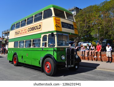 FELIXSTOWE, SUFFOLK, ENGLAND - MAY 06, 2018:  Vintage AEC Regent Double Decker Green Bus on the Road.