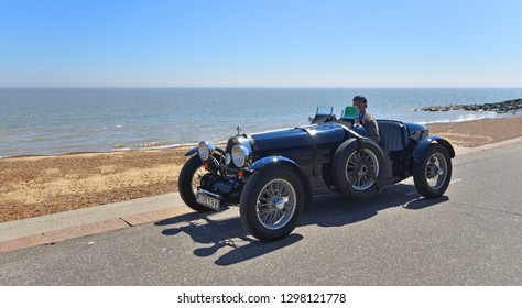 FELIXSTOWE, SUFFOLK, ENGLAND - MAY 06, 2018:  Classic Blue Bugatti Racing  Car being driven along Seafront  Promenade.