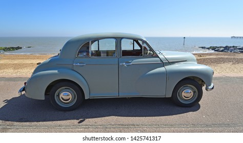 FELIXSTOWE, SUFFOLK, ENGLAND -  MAY 06, 2018: Classic Grey  Morris Oxford Motor Car Parked on Seafront Promenade.