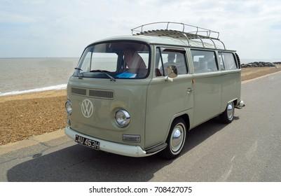 FELIXSTOWE, SUFFOLK, ENGLAND -  MAY 07, 2017: Classic Grey Volkswagen  Camper Van Parked on Seafront Promenade