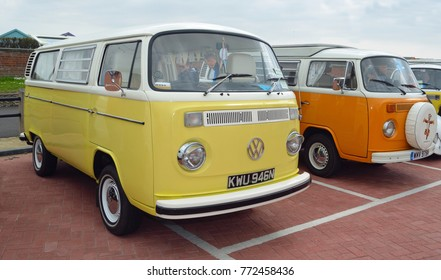 FELIXSTOWE, SUFFOLK, ENGLAND -  MAY 07, 2017: Classic Yellow and White Volkswagen Camper Van.