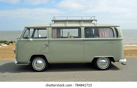 FELIXSTOWE, SUFFOLK, ENGLAND -  MAY 07, 2017: Classic Grey Volkswagen  Camper Van Parked on Seafront Promenade