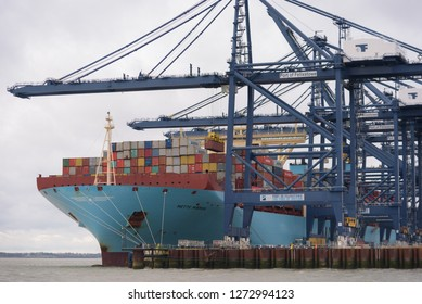 FELIXSTOWE, UNITED KINGDOM - DEC 29, 2018: Maersk Line container ship Mette Maersk having containers loaded at Felixstowe port in Suffolk