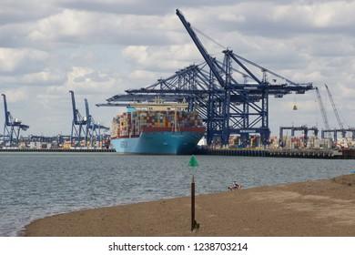 FELIXSTOWE, UNITED KINGDOM - JULY 11, 2015: Maersk Line container ship Maribo Maersk docked at Felixstowe port in Suffolk