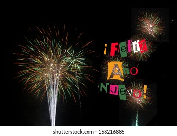 Feliz Ano Nuevo Happy New Year 2015 Spanish colorful fireworks on black background for banner poster card or party invitation for New Years Day New Year's Eve  Also Happy New Year in English