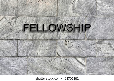 Fellowship Concept - Fellowship sign on ageless marble wall - with copy space