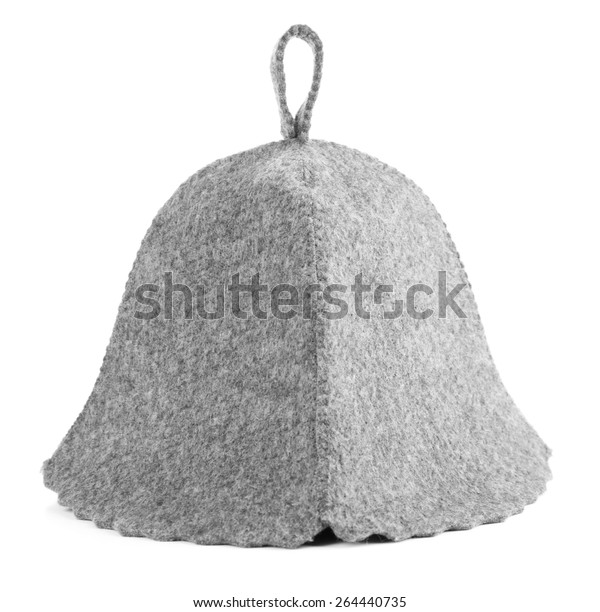 Felt hat for sauna, isolated on white