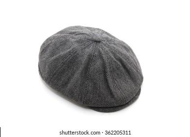 felt man flat cap isolated on white background