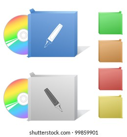 Felt pen. Box with compact disc. Raster illustration. Vector version is in my portfolio.