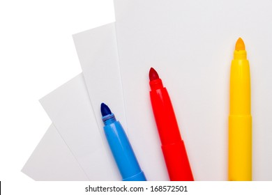 Felt pen on white peace of paper, isolated on white background