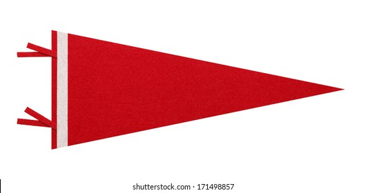 Felt Pennant with Copy Space Isolated on White Background.