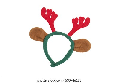 felt reindeer antlers and ears diadem for Christmas, isolated on white background