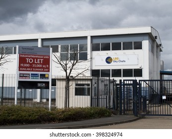 Feltham, London, Central Way, Middlesex, England - March 30, 2016: Commercial industrial warehouse units to let advertising sign