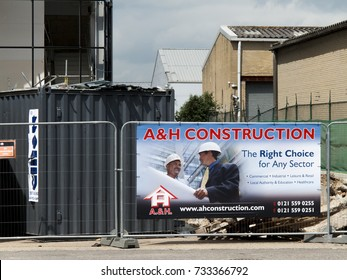 Feltham, Middlesex, England - May 31, 2017: A and H construction site sign, new commercial warehouse and office development