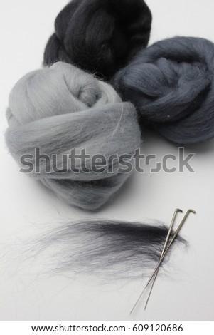 Felting Tools Merino Wool Tops Stock Photo (Edit Now) 609120686