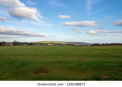 Felton, Bristol, UK, 27 November 2018: Felton Common, popular with dog walkers and plane spotters