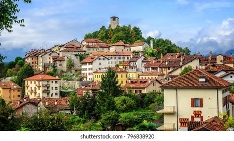 Feltre historical Old Town sits on a hill top in Dolomites Alps, Belluno province, Veneto, Italy