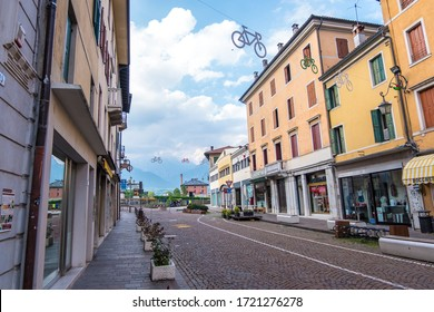 Feltre, Italy - August 11, 2019: Street view of the Feltre town in the province of Belluno in Veneto, northern Italy