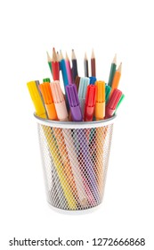 felts and colored pencils in a metal pot with select focus