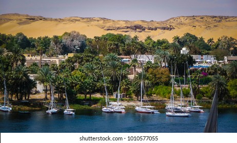 Felucca boats in the port on a Nile river in Aswan, Egypt. Egyptian tourist spot - harbor for cruises down the river