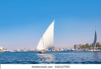 Felucca on River Nile near Luxor, a traditional egyptian sailing boat