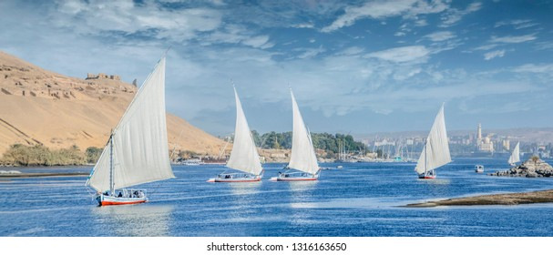 Felucca Sailing on the Nile River in Aswan, Egypt. A sailboat in the Nile.