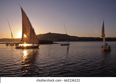 Felucca Sailing on the Nile River in Aswan, Egypt