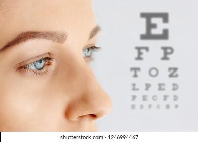 Femal face with blue eyes without make-up. Eye health and care, eyesight, eye test, ophthalmology