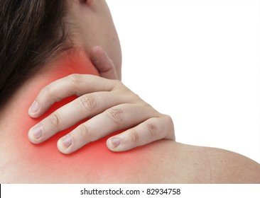 femal having neckache and is giving herself Massage