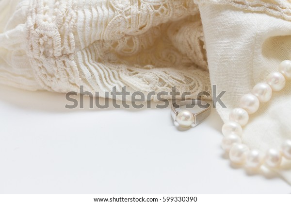 Female Accessories Frame White Lace Dress Stock Photo Edit