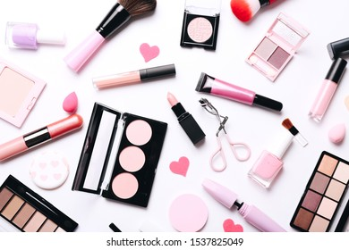 Female accessories for make up. Beauty concept. Black friday con