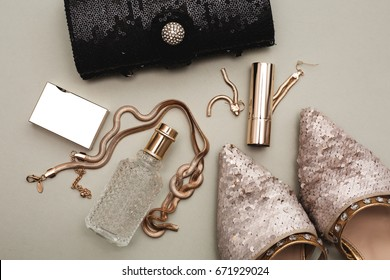 Female accessories. Shoes with perfume