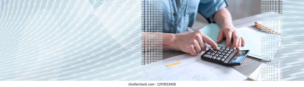 Female accountant using calculator in office. panoramic banner