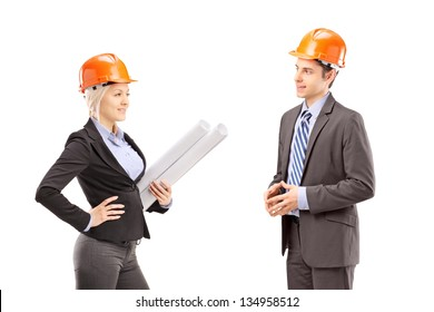 A female achitect and male investor having a meeting isolated on white background