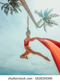 female aerialist in red swimsuit makes tricks on the red airsilk on the palm tree on the sky background in Sri Lanka, sport art concept, free space