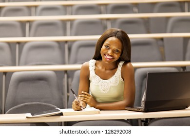 female african college student in classroom