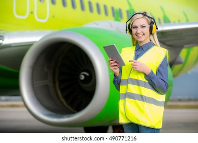 Female airport worker