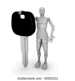 female android with car keys