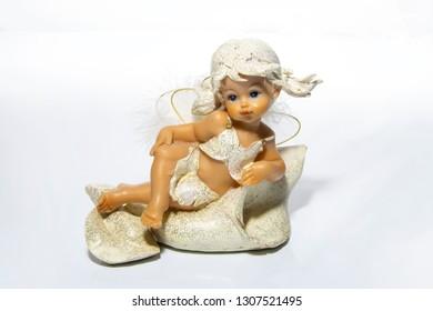 Female angel figurine on white background, isolated.
