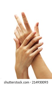 female applying cream to her hands.