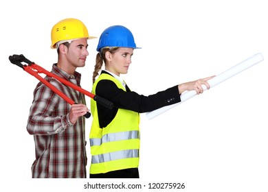Female architect giving orders