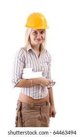 Female architect holding blueprints isolated in white