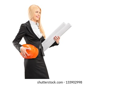 Female architect holding a helmet and a blueprint isolated against white background
